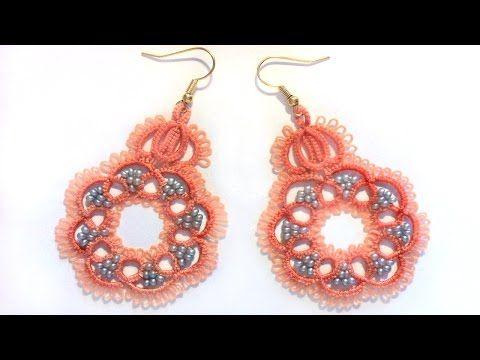 Кружевные серьги с бисером фриволите иглой. МК для начинающих. lace frivolite earrings with a needle - YouTube