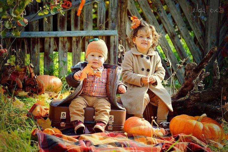 детки собрали осенний урожай из тыкв