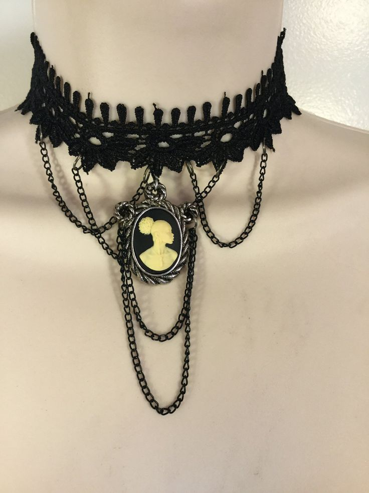 Vintage Cameo Black Lace Choker/Free Shipping  #Cameo #jewelry #VintageJewelry #blackgirl