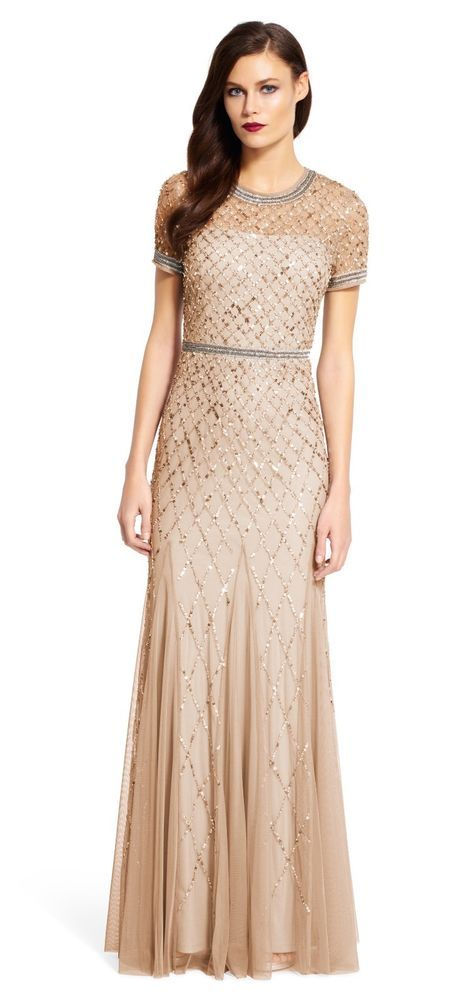 8714786dfc4e Adrianna Papell Champagne Gold Short Sleeve Beaded Godet Gown NWT ALL Sizes  $320 #AdriannaPapell #ALineDress #Formal