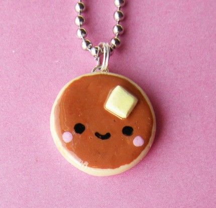 cool kawaii polymer clay charms | Polymer clay miniature food cute Kawaii Pancake Necklace