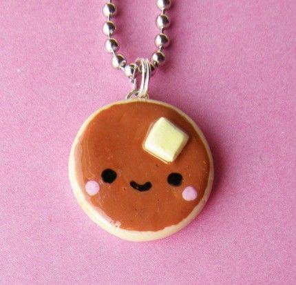 cool kawaii polymer clay charms | Polymer clay miniature food cute Kawaii Pancake Necklace