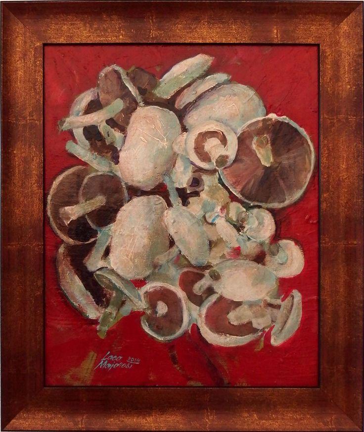 Ladislav Majoroši - Huby 1, akryl na sololite, 37 x 30 cm, 2014