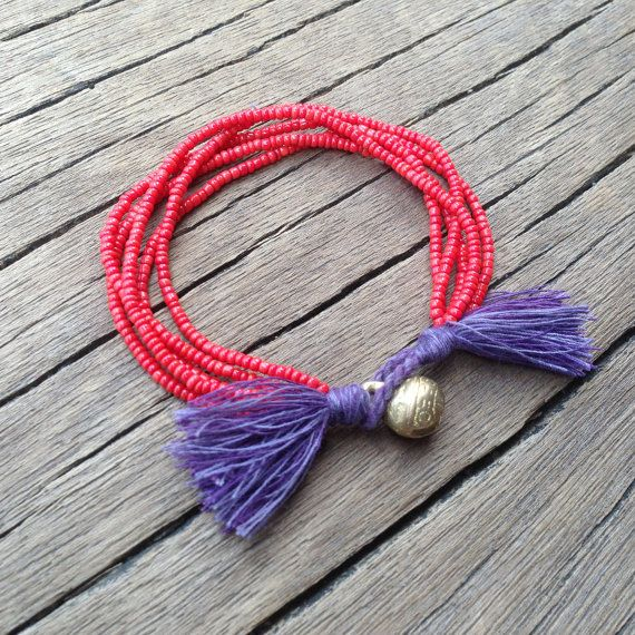 Coral Red Beads Violet Purple Tassel 5 Strand by PiscesAndFishes, $24.00