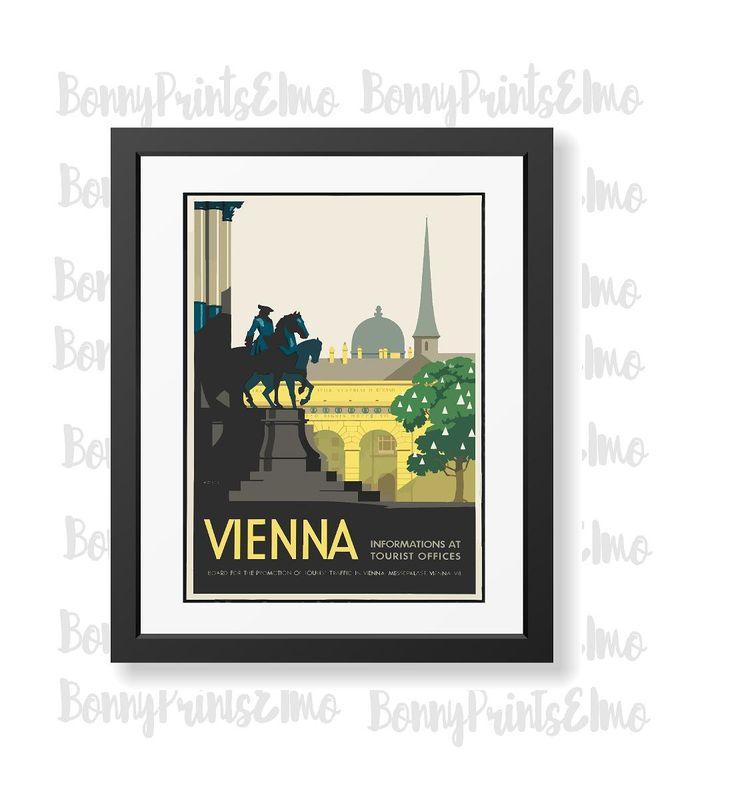 Vienna Travel Poster,Vienna Austria Print,Vienna Tourism,Europe Travel Art…