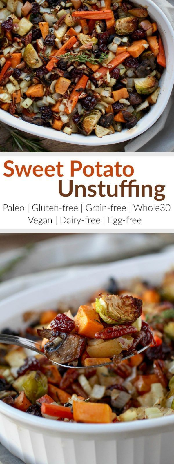 Gluten-Free Sweet Potato Unstuffing makes for a crowd-pleasing Thanksgiving side-dish or a tasty addition to your weeknight menu. It has the flavors of stuffing but without the bread. It's loaded with a variety of veggies and studded with the perfect amount of dried cherries, apples, pecans, and fresh herbs. The ingredients come together to create quite a delicious and healthy stuffing side-dish | Whole30 | Paleo | Vegan | http://therealfoodrds.com