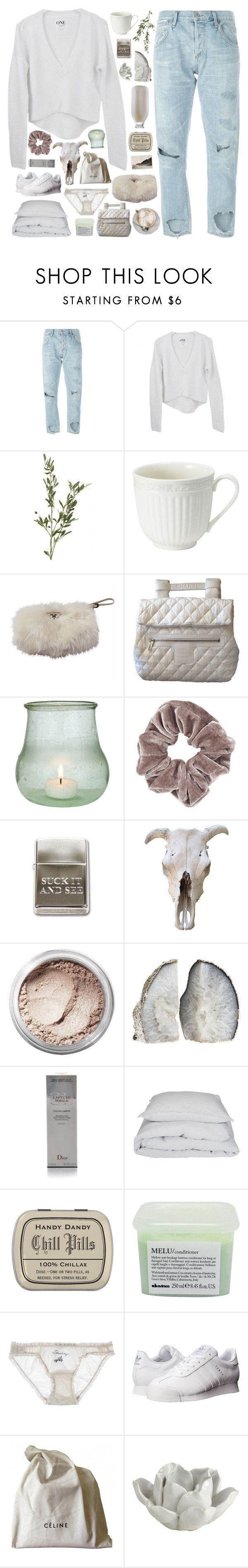 """""""her face prettier than those on the screen."""" by dance-the-pain-away ❤ liked on Polyvore featuring Citizens of Humanity, Prada, Chanel, Cultural Intrigue, Topshop, Bare Escentuals, Christian Dior, By Nord, Davines and STELLA McCARTNEY"""