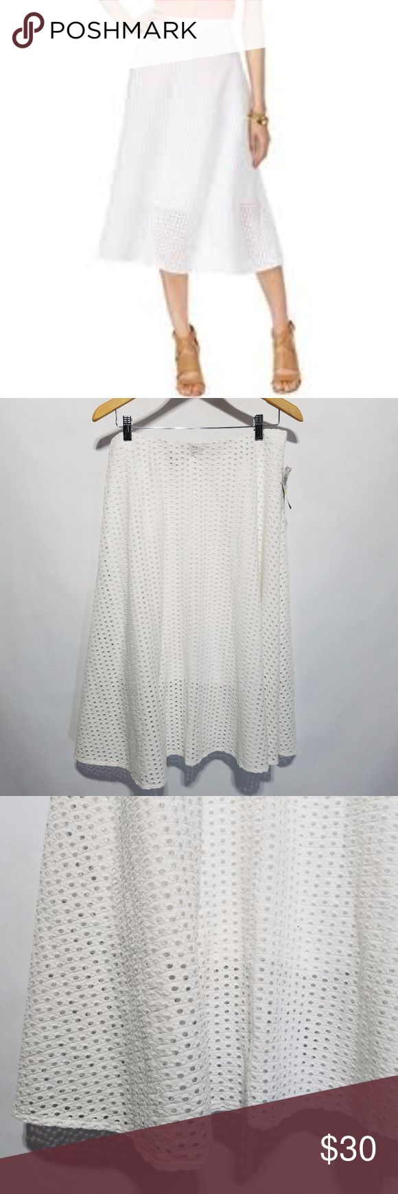 """NWT Alfani White Eyelet Skirt Very stunning white eyelet skirt from Alfani.  Lined but it does not go all the way to the hem as seen in the pictures which gives it a cute effect.  Elastic waist with back silver zipper.  Brand new with tags.  57% Cotton 38% Rayon 5% Spandex  15"""" Waist 27"""" Length Alfani Skirts Midi"""