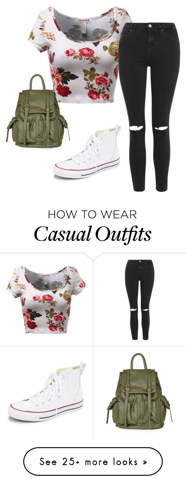 """""""casual and cute"""" by maryannarmstrong on Polyvore featuring Topshop, Converse, women's clothing, women's fashion, women, female, woman, misses and juniors"""