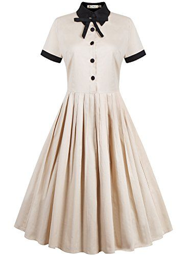 REORIA Womens 1950s Vintage Short Sleeve Modest Casual Swing Cocktail Dress Khaki Medium ReoRia http://www.amazon.com/dp/B01B0Q1AMY/ref=cm_sw_r_pi_dp_aFH7wb09AXGV2