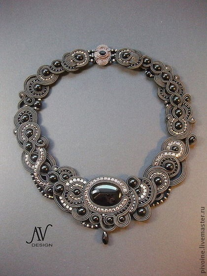By Anneta Valious | Soutache Embroidery Necklace | ~ lovely mixes of the color gray.