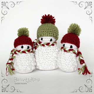 "These little amigurumi snowmen work up quickly with scraps of white and colored yarn. Directions are included to make two sizes of snowmen that are about 4"" and 6"" tall using worsted weight yarn (but feel free to use other weights of yarn!). These little guys are addicting, you won't want to make just one!"