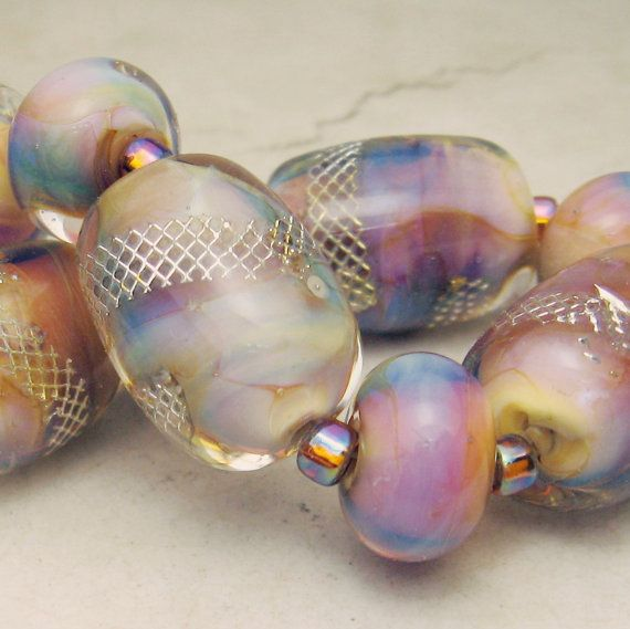 Lampwork Glass Bead Set with Silver Mesh by StoneDesignsbySheila, $85.00