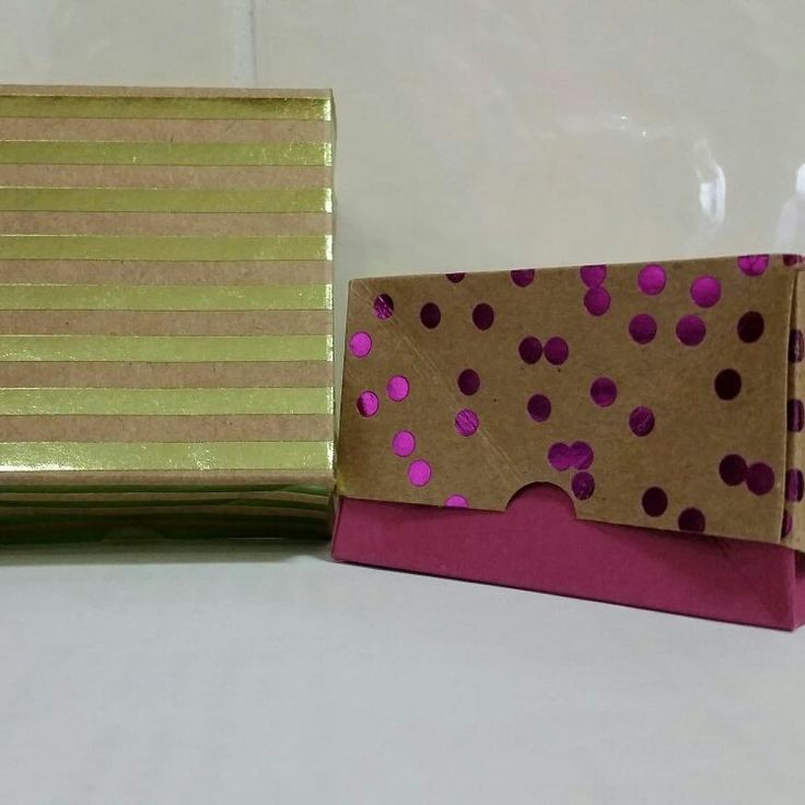 Collapsible gift boxes made with Foil Frenzy DSP and 2017-2019 In Colours from Stampin' Up!   Box design courtesy of Pootles Papercraft.