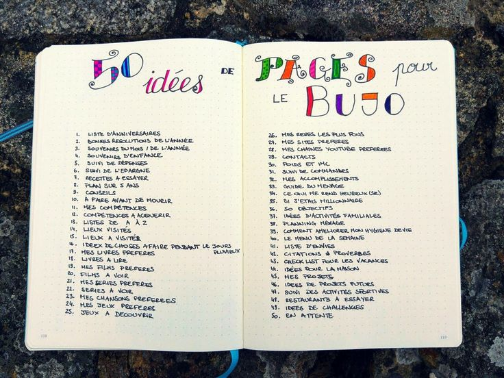 Inspiration 50 Idées de pages bullet journal bujo. (http://journalingaddict.fr/50-idees-pages-bujo)