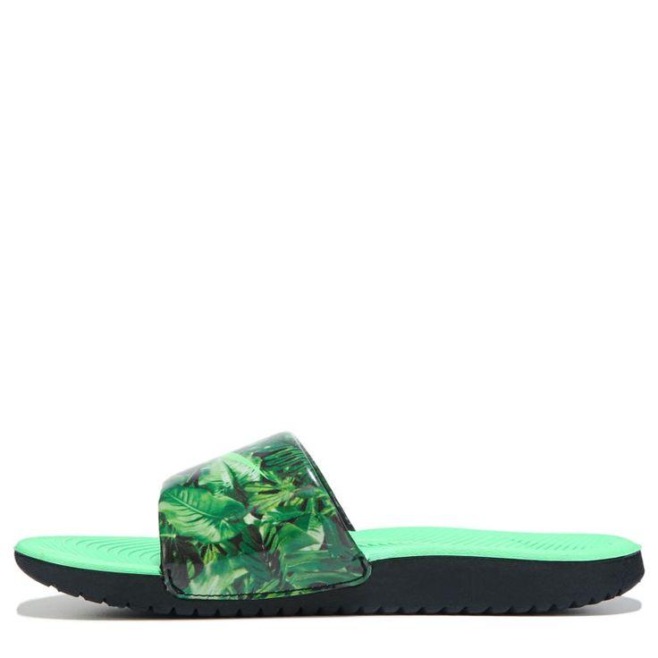 Nike Kids' Kawa Print Slide Sandal Pre/Grade School Sandals (Black/Electro Green)