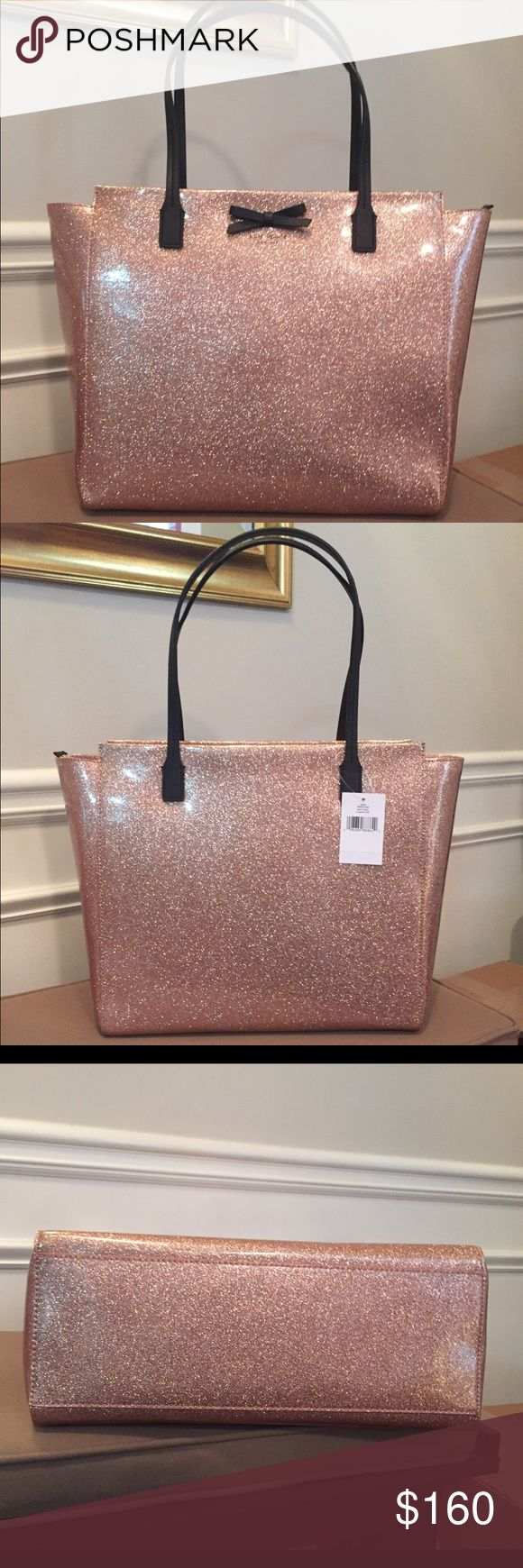 """Kate Spade Mavis Street Taden Tote New with tag! Gorgeous rose gold glitter zip top Kate Spade tote. Inside has zip pocket and two slip pockets. Bow detail on front. Absolutely stunning! Measures about 13.5""""L x 12""""H x 6""""W. Strap drop about 8"""". Smoke free, pet free home. kate spade Bags Totes"""