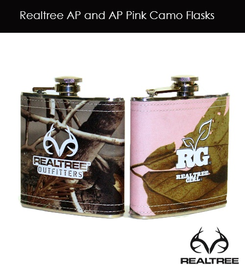Realtree Camo Flasks with Realtree AP and AP Pink - His and Her Flasks
