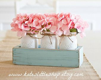 Rustic Planter Box with 3 Vintage Style Mason by KatesLittleShop
