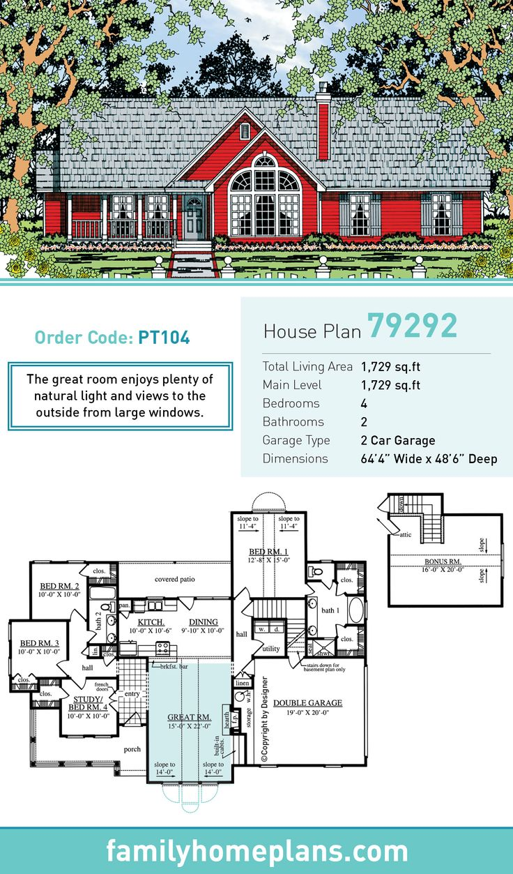 Country house plan 79292 country houses natural light for Natural home plans
