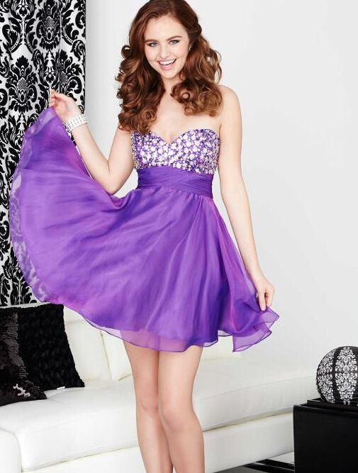 2016 Cute Purple Color Crystal Top Short Homecoming Dresses Sexy Backless Sweetheart A Line Chiffon Charming Prom Party Dress