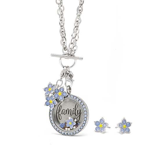 "It's the little things in life that are usually the biggest! Honor the most important people in your life—your family—with this sweet blue ""Forget-Me-Not""-themed Origami Owl locket look!"