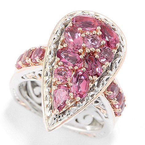 151-121 - Gems en Vogue 2.40ctw Pink Tourmaline Cluster Pear Shaped Ring