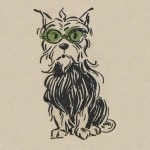 Toto in his green goggles, as seen in the original Wizard of Oz illustrations