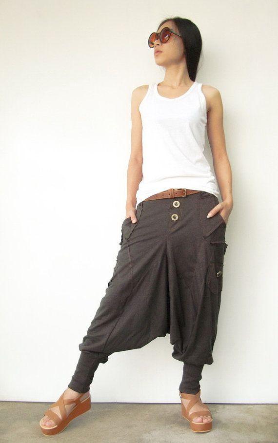 NO.95    Charcoal Brown Cotton Jersey Casual Harem Pants Unique Pockets Drop-Crotch Trousers
