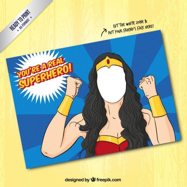 Plantilla de tarjeta de superhéroe femenina Vector Gratis