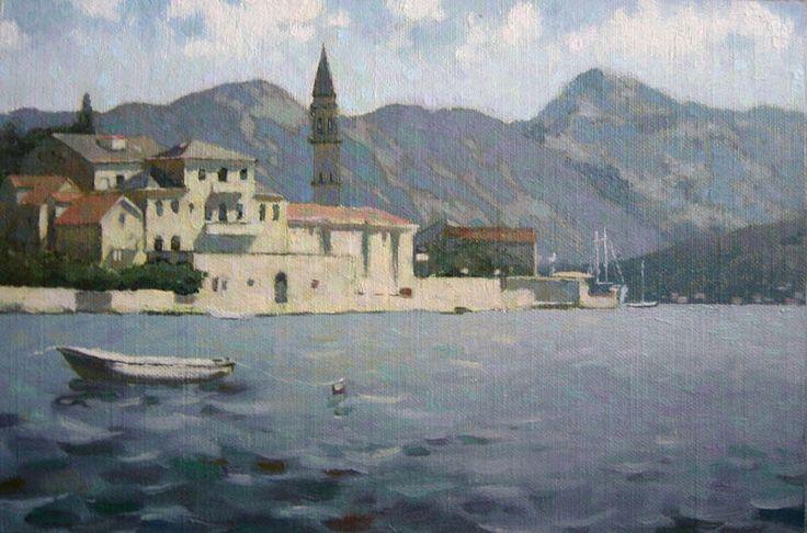 Bay of Kotor, oil on canvas on hardboard by Daniil Belov, 20x29,5 cm