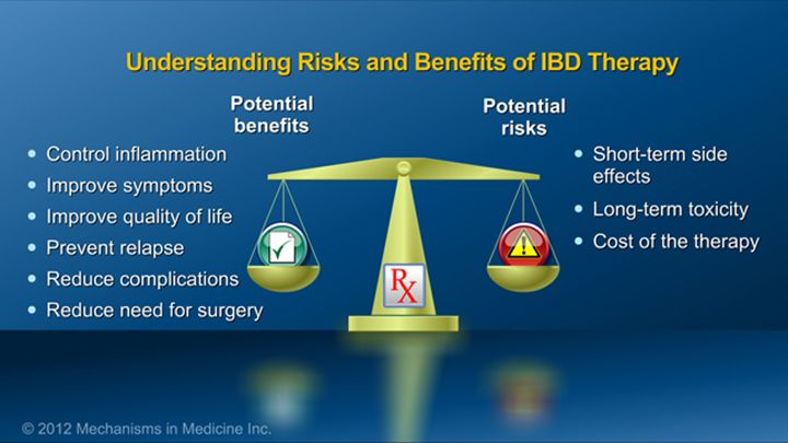 Patients can prepare for their IBD therapy by understanding risks and benefits of medications. Potential benefits of therapies for IBD include control of inflammation, improvement of symptoms, improvement in quality of life, prevention of relapse, reduction in complications of IBD, and reduction in the chance of requiring surgery. On the other hand, potential risks include short-term side effects, long-term toxicity, and the cost of the therapy.slide show: preparing for ibd therapy. this…