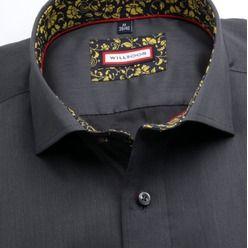 Pánská slim fit košile (výška 176-182) 7705 v grafitové barvě s úpravou easy care, Willsoor
