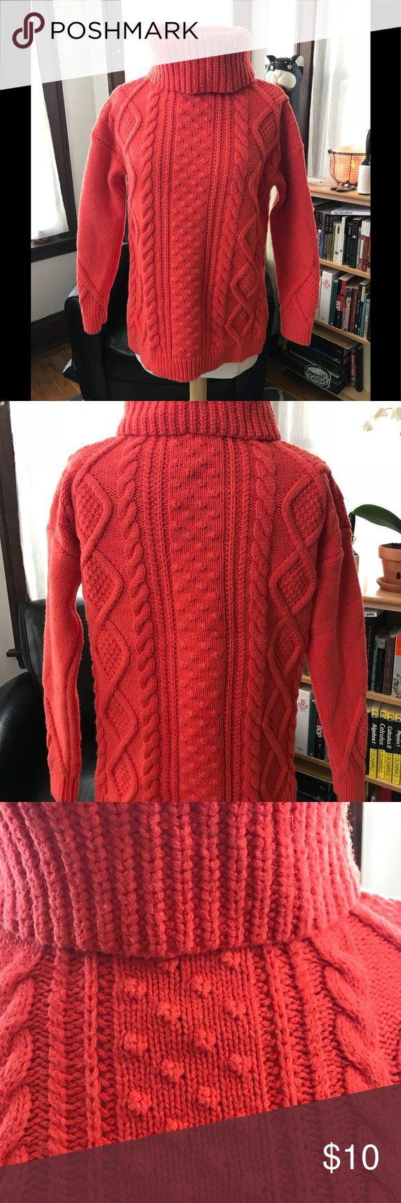 Lands' End orange turtleneck sweater sz S Wrap yourself in this super warm cozy sweater by Lands' End. Size S/P, high turtleneck. Incredibly comfortable. Great vibrant orange color. Imagine yourself in this weather with nice hot cup of tea, or hot cocoa, watching your favorite movie...total heaven! Materials:  55% Cotton 27% Nylon 13% Acrylic  5% Wool Lands' End Sweaters Cowl & Turtlenecks