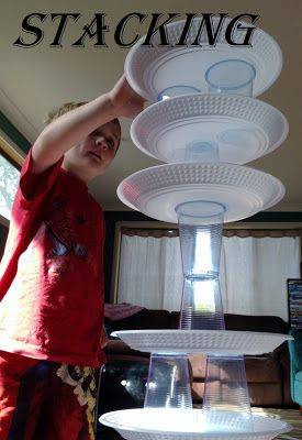 Adventures at home with Mum: Stack Up Cup Game. Building with cups and plates! Cool!