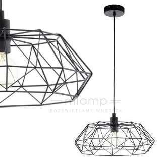 Industrialna LAMPA wisząca CARLTON 2 49487 Eglo druciana OPRAWA metalowy zwis NEWTON IP20 drut czarny