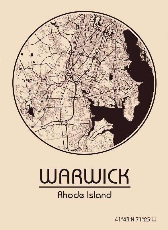 Karte / Map ~ Warwick, Rhode Island - Vereinigte Staaten von Amerika / United States of America / USA