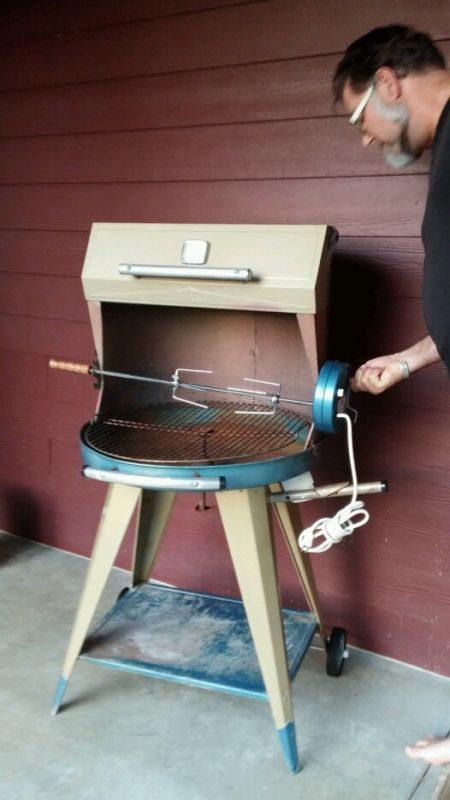 Vintage Structo Reto Bar B Que Bbq Charcoal Old Grill Blue