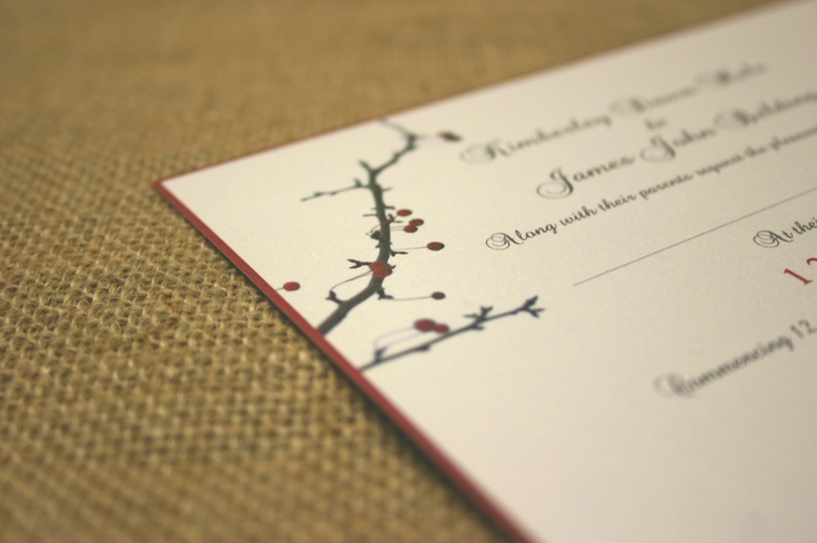 www.theweddingprintshop.co.uk Christmas themed wedding stationery invites invitations on gold dust shimmery metallic card, reply cards menu options postcard on 100% recycled card, gift list poem on Conqueror tracing paper. Penguin, snowflake, winter berries.