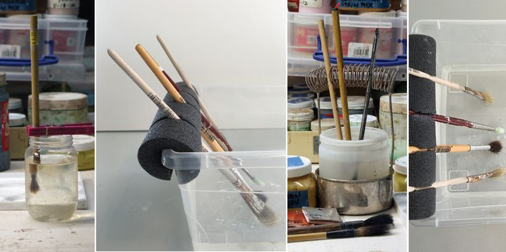 Tired of crusty, dried wax on the tips of your brushes? Try these simple DIY brush holder solutions to keep your brushes suspended in water so they don't dry out.  Wax Brush Holder by Linda Arbuckle My majolica decoration methods require a lot of waxing. Since I'm  using the wax frequently, I prefer to leave …