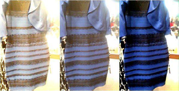 Разумеется, речь идет о фотографии странного платья (на снимке посередине), выложенного накануне порталом BuzzFeed. «Парни, помогите мне, это платье бело-золотое или сине-черное? Я и мои друзья не ...