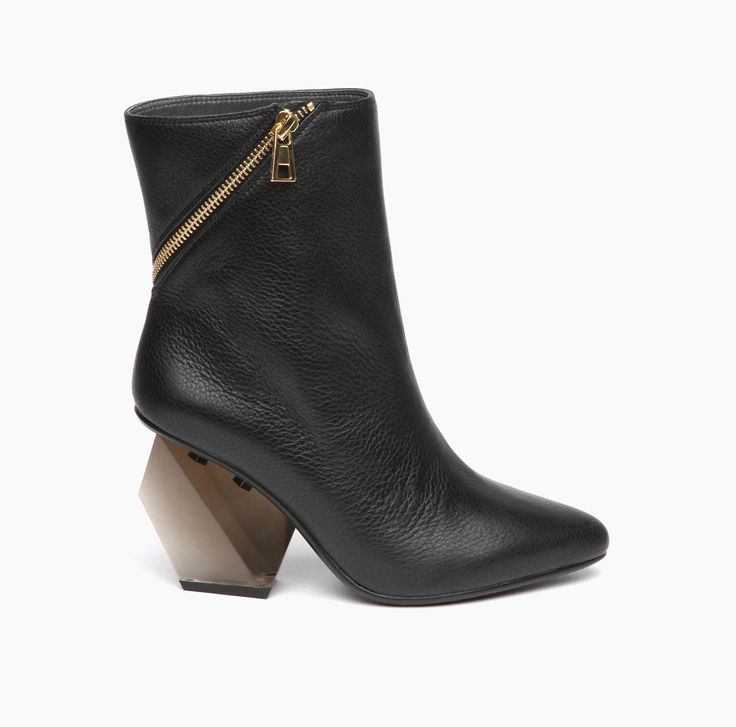 Rocky Short Boot Hi Black Tumbled Leather with lucite geometric heel