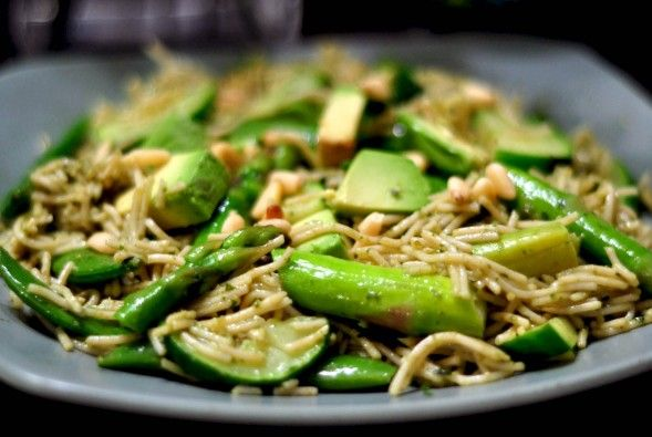 ... Pasta Vert Stir Fry recipe with Avocado, Zucchini, Asparagus and snap