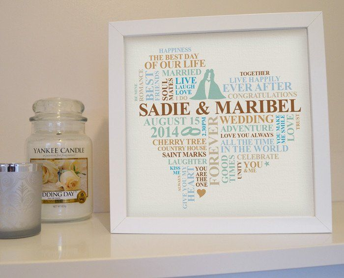 Wedding gift framed for female couple. A personalised wedding gift which captures the special memories of the day.    This unique wedding art is the perfect present for a newly wed couple. Personalised with words and colours of your choice.    The wedding day gift is a wonderfully personal gift.    The design includes a silhouette of a female couple kissing.