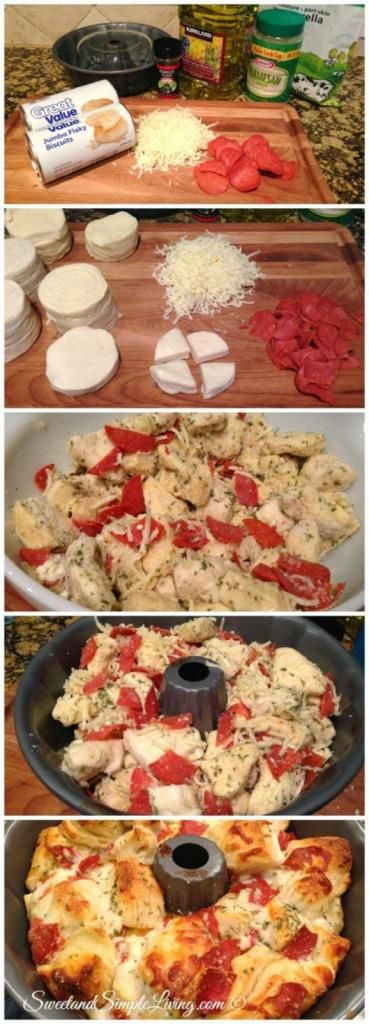 "Easy Pull Apart Pizza Bread ""I'm always looking for fast and easy recipes and this one definitely fits the bill! Try this Easy Pull Apart Pizza Bread recipe!"" Easy Pull Apart Pizza Bread recipe that takes hardly no time to throw together. Ingredients 2 Cans of Pizza Dough or Biscuits 2 cups Mozzarella cheese (or your favorite cheese) 2 tablespoons […] Continue reading... The post Easy Pull Apart Pizza Bread appeared first on All The Food That's Fit To Eat ."