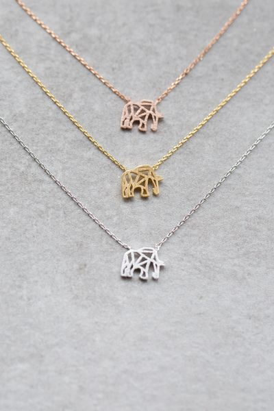 Cute elephant necklace in gold, rose gold, and silver.