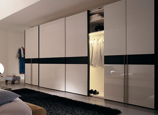 Black and white wardrobe with sliding doors [ Sliding-doors-hardware.com ] #modern #hardware #slidingdoor