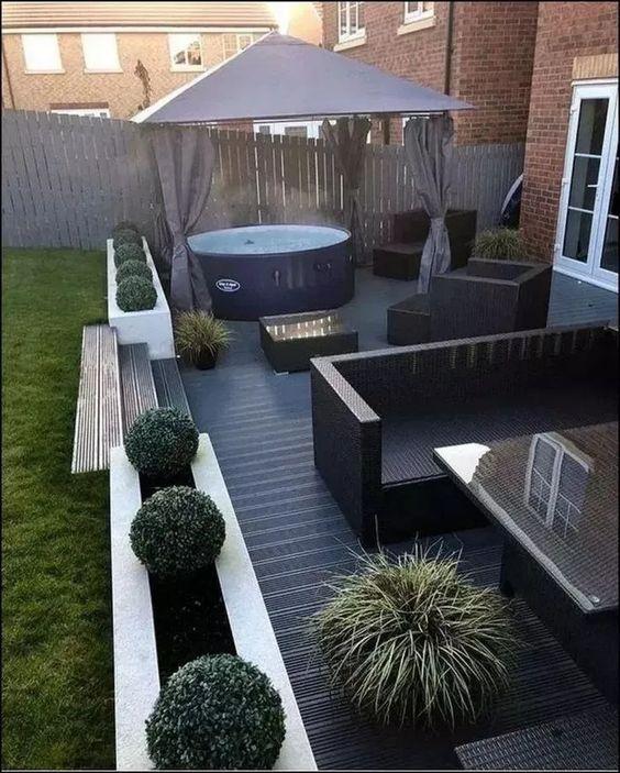 Outstanding Hot Tub Ideas To Beautify Your Home Outdoor Gardens Design Backyard Garden Design Minimalist Garden