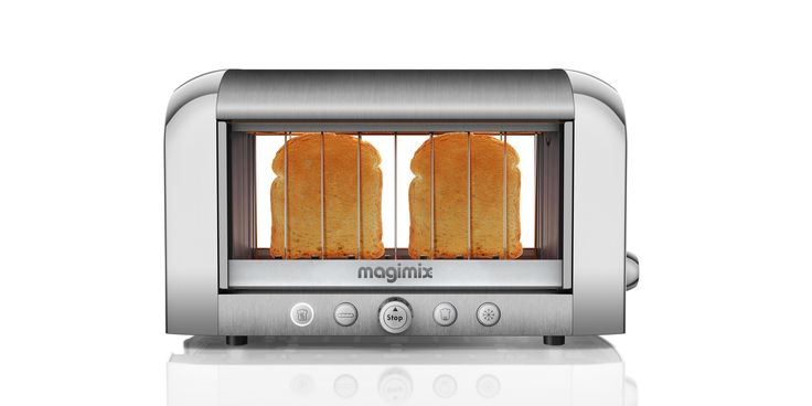 See-through stainless steel toaster on white background