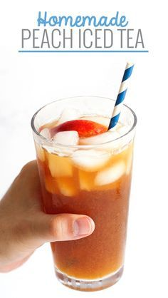Homemade Peach Iced Tea - Made with just 4 simple ingredients and even better than the Olive Gardens! #sweettea #icedtea #peachicedtea | Littlespicejar.com